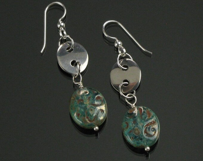 Rustic Aqua Glass Earrings, Unique Stainless Steel Oval Earrings, Everyday Earrings Christmas Gift for Her, Unique Oval Earring, Woman Gift