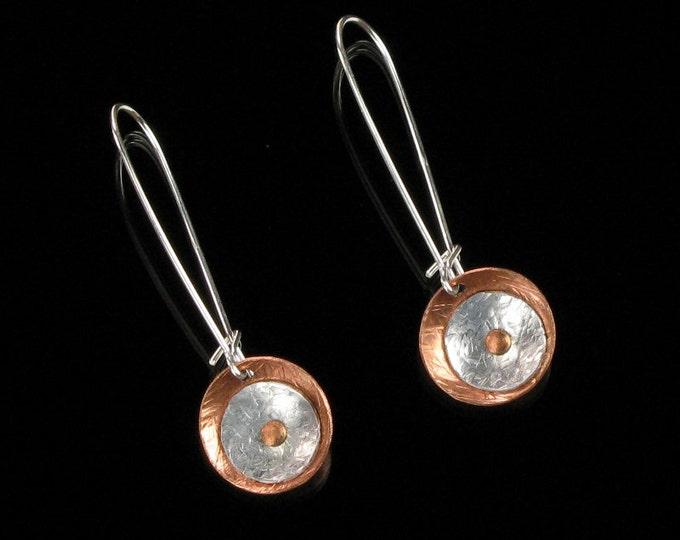 Minimalist Dangle Earrings, Unique Metal Earrings, Mixed Metal Jewelry, Handforged Earrings, Modern Earrings, Gift for Women, Girlfriend