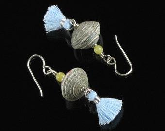 Blue Tassel Silver Earrings, Boho Dangle Paper Bead Earrings, Unique Lightweight Earrings, Silver Tassel Jewelry, Christmas Gifts for Women