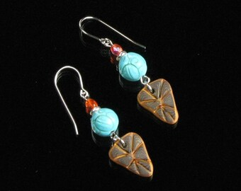 Turquoise Ethnic Earrings, Rustic Brown Gold Clay Dangle Silver Earrings, Tribal Earrings, Boho Earthy Art Jewelry, Unique Gift for Women