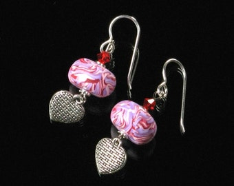 Unique Heart Dangle Earrings, Pink Silver Heart Jewelry Gift, Love Jewelry, Unique Mothers Day, Birthday Gift for Her, Women