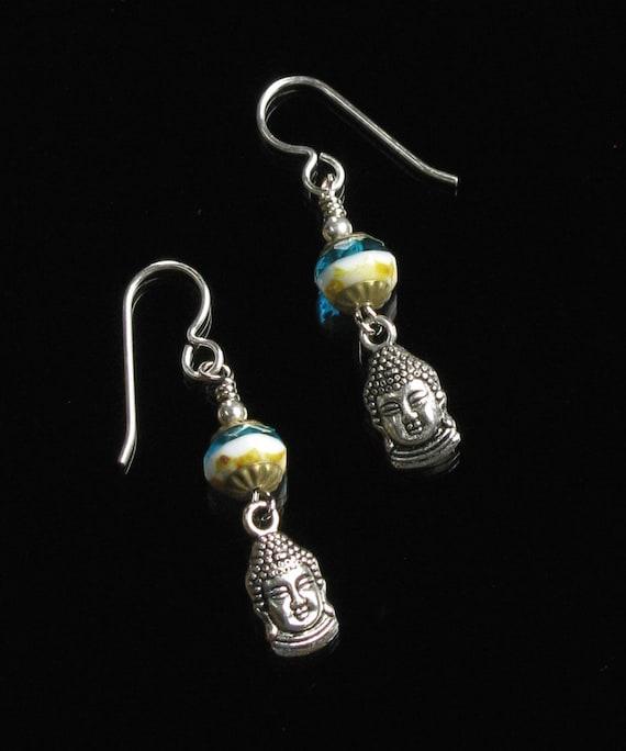 Silver Buddha Yoga Earrings, Dangle Silver Earrings, Yoga Jewelry, Spiritual Jewelry, Buddhist Earrings, Buddha Jewelry, Gift for Girlfriend