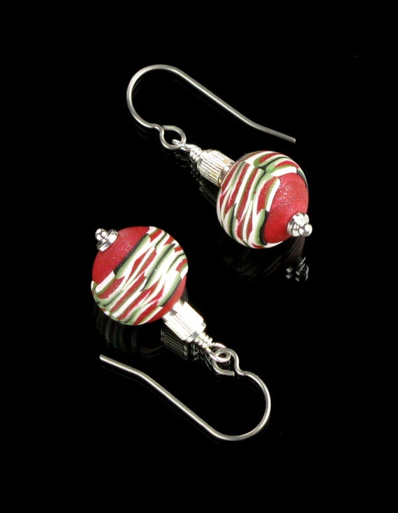 Red Christmas Ball Silver Earrings, Christmas Holiday Jewelry, Polymer Dangle Earrings, Unique Earrings, Christmas Earrings, Gift for Her