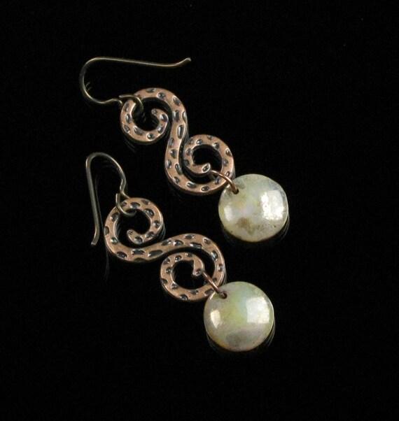 Copper Scroll Unique Earrings, Boho Dangle Earrings, Rustic Copper Boho Jewelry, Niobium Earrings, Handmade Gift for Women, Girlfriend, Wife