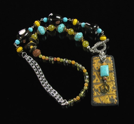 Boho Statement Necklace, Unique Turquoise, Black & Gold Front Close Necklace, Boho Necklace, Boho Jewelry, Girlfriend Gift, Womens Gift, Mom