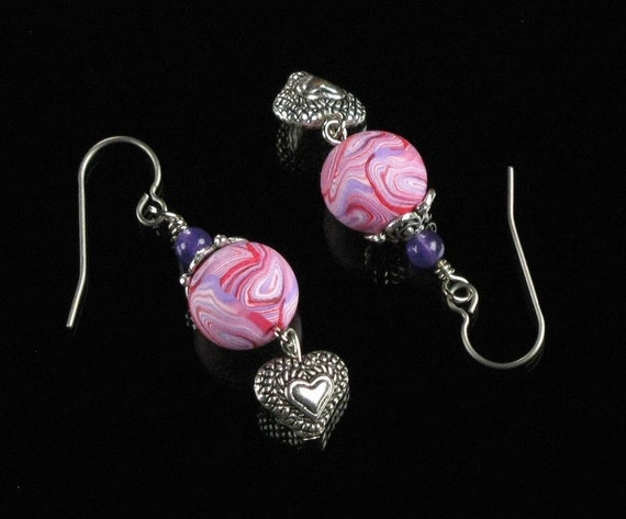 Silver Heart Earrings, Pink Clay Bead Silver Earrings, Handmade Romantic Love Jewelry, Heart Jewelry, Unique Gift for Women, Girlfriend