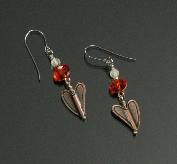 Copper Heart Earrings, Rustic Copper Heart Jewelry, Unique Jewelry Shop, Valentine Gift, Unique Gift for Her,  Women's Gift, Girlfriend Gift