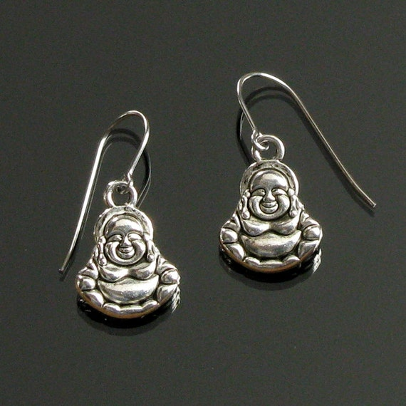 Happy Buddha Silver Dangle Earrings, Zen Buddha Earrings, Spiritual Earrings, Yoga Jewelry, Buddhist Jewelry, Unisex Gift, Girlfriend Gift