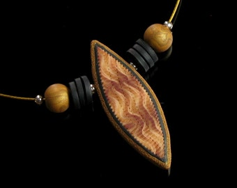 Gold & Black Tribal Necklace, Polymer Clay Pendant Necklace, Unique Handmade Earthy Jewelry Gift, Womens Gift, Mom, Girlfriend Gift Necklace