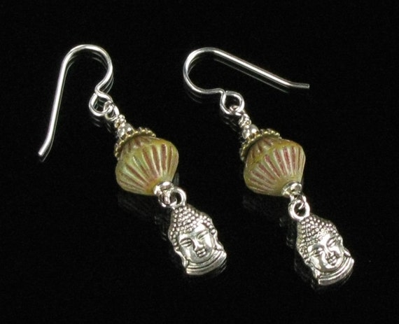 Buddha Earrings, Rustic Buddha Dangle Earrings, Silver Earrings, Spiritual Jewelry, Yoga Jewelry, Buddhist Gift Jewelry, Unique Gift for Her