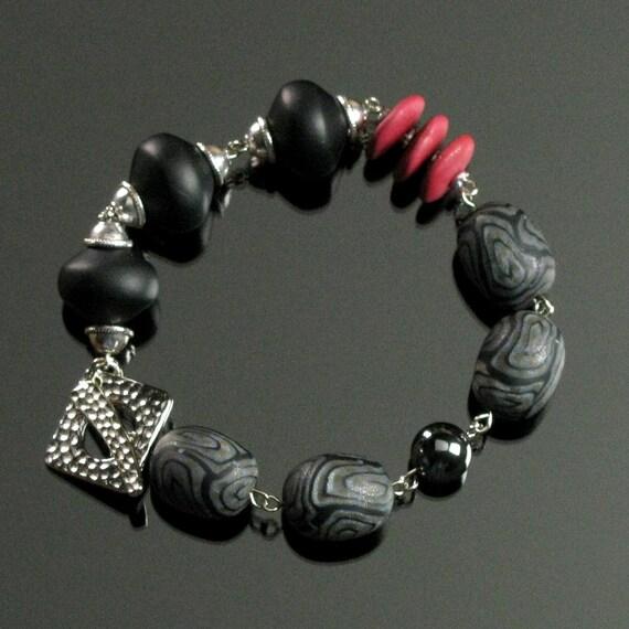 Red & Black Bracelet - Unique Bracelet - Polymer Clay Bracelet - Toggle Bracelet - Unique Art Jewelry - Unique Gift for Her - Womens Gift