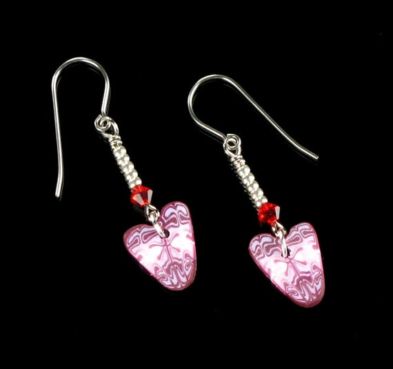 Heart Dangle Earrings, Rustic Polymer Clay Heart Jewelry, Pink Red Heart Earring Gift for Women, Mom, Girlfriend Gift, Handmade Jewelry