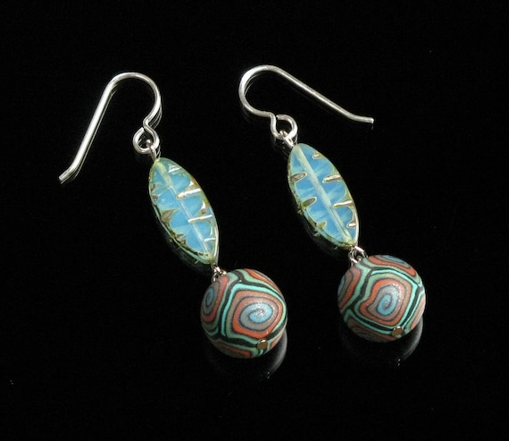 Colorful Bohemian Earrings, Turquoise Boho Dangle, Unique Boho Jewelry Gift for Women, Mom, Unique Silver Tribal Earrings, Colorful Jewelry