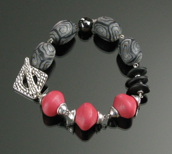 Red & Black Bracelet, Unique Handmade Silver Bracelet, Clay Bracelet, Art Jewelry, Gift for Woman, Girlfriend Gift for Her, Mom, Wife Gift