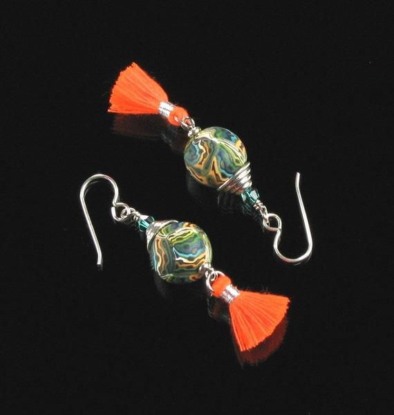 Boho Earrings, Tassel Earrings, Boho Chic Dangle Earrings Gift for Women, Tassel Statement Earrings, Unique Colorful Hippie Jewelry Gift