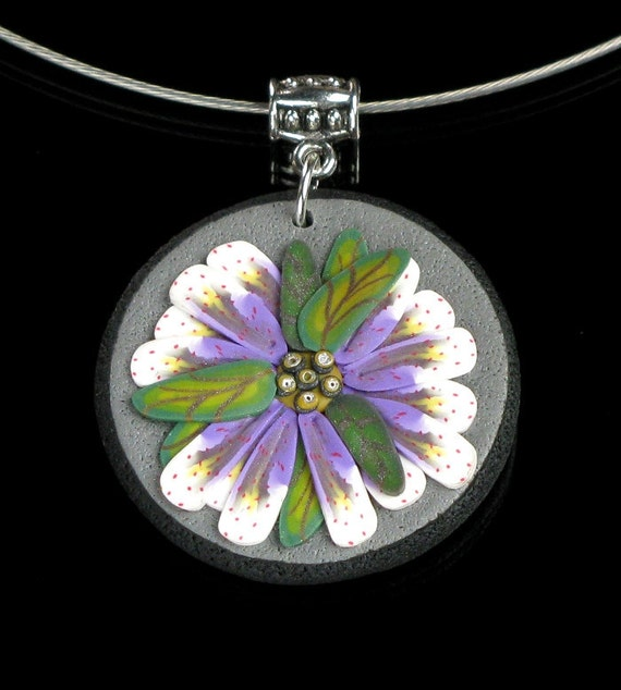 Purple Flower Pendant, Flower Necklace, Valentines Gift for Mom, Art Jewelry, Unique Jewelry Gift for Her, Nature Jewelry, Floral Jewelry