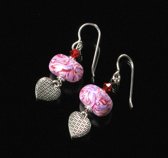 Heart Dangle Earrings, Unique Heart Earrings, Pink Silver Heart Jewelry Gift, Love Jewelry, Heart Jewelry, Unique Valentine Gift for Women