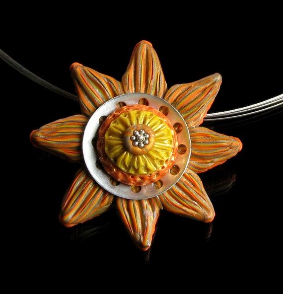 Orange Flower Pendant, Unique Clay Necklace, Whimsical Nature Jewelry, Flower Art Jewelry, Unique Gift for Women, Girlfriend, Mom, Wife