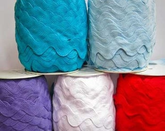5 Yards of Super Jumbo Ric Rac, 1 13/32nds inch, Your choice of 18 Colors