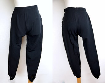 9019c243b54 1960s White Stag Capri Pants Stirrup Pedal Pushers Stretchy Small High  Waisted Side Zipper Black