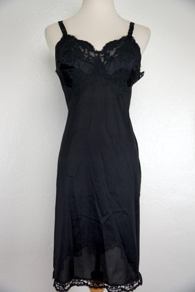 Black Slip Dress Full Gossard Artemis 1960s Negligee Nightie Lace Fitted Satin 60s Lingerie