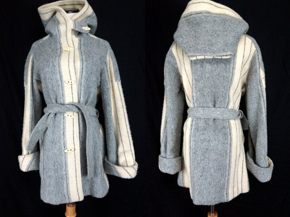 Striped Wool Coat Hooded Belted Button Jacket Urug