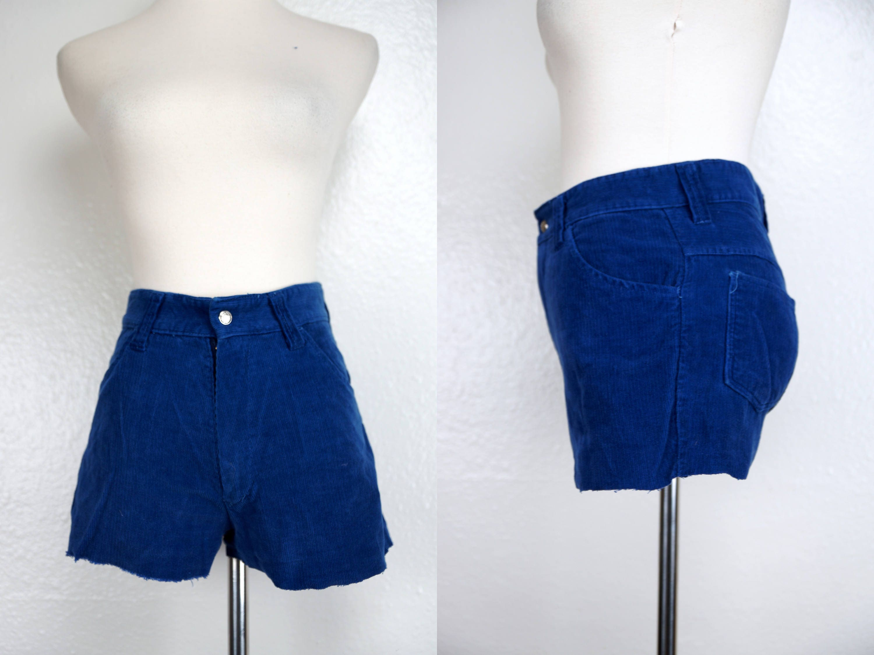 0280f94ef49 Blue Cutoff Shorts Corduroy 1970s Peacock Small High Rise