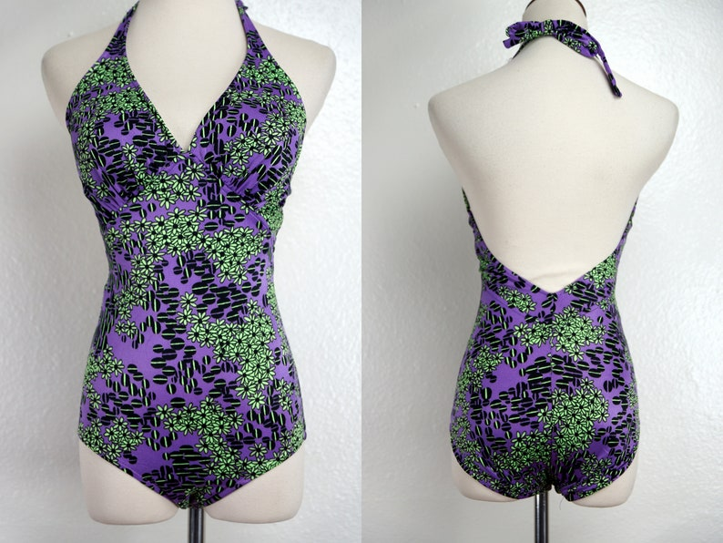 b4f6f982a0ee1 Catalina Bathing Suit Swimsuit 1960s Purple Atomic Print   Etsy