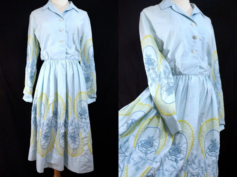 95b866fb222 Shirt Dress Cowgirl 1950s Fit and Flare Embroidered Baby Blue