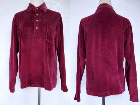 Burgundy Velour Sweater Long Sleeve Button Collar