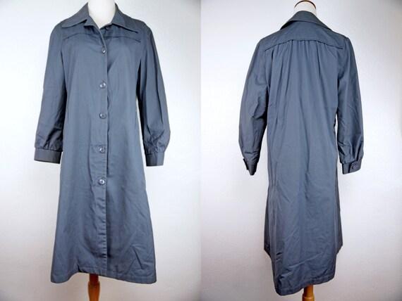 1970s Jacket Coat Trench Button Collar Blue Grey Fall London Fog Autumn Small Medium by Etsy