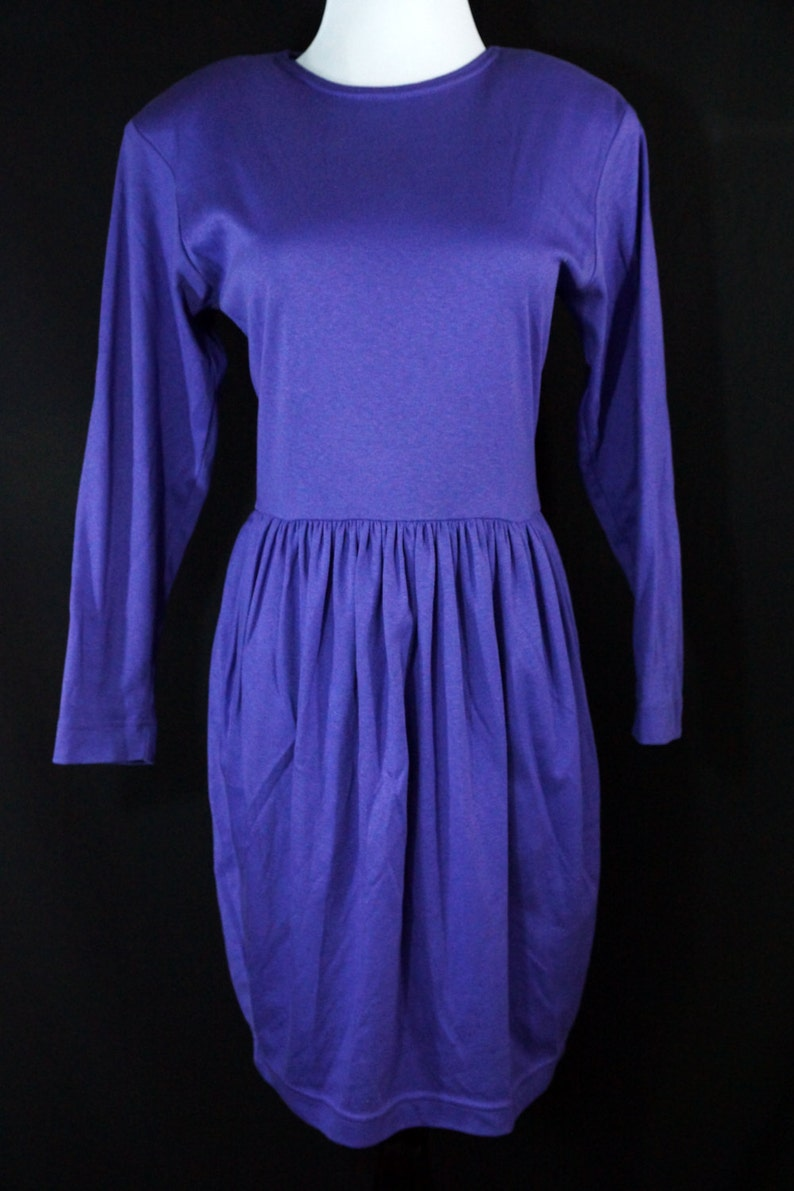 SALE 1980s Purple Mini Dress Cotton Jersey Wiggle Long Sleeve 80s Cathy Hardwick