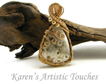 Stunning Ocean Jasper Bronze Wire Weaving Pendant, Statement Jewelry, Gemstone Necklace, Water Energy