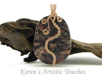 Red Snowflake Jasper Gemstone Rose Gold Wire Weaving Pendant, Statement Jewelry, Protective, Stabilizing, Healing Energy