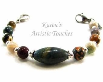 Natural Ocean Jasper Gemstone Medical Alert Bracelet, Fashionable Medical ID Jewelry, Allergy Bracelet, Beaded Bracelet