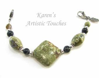 Natural Ryolite and Kambaba Jasper Gemstone Medical Alert Bracelet, Fashionable Medical ID Jewelry, Allergy Bracelet, Beaded Bracelet