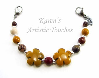 Natural Mookaite Jasper Gemstone Medical Alert Bracelet, Fashionable Medical ID Jewelry, Allergy Bracelet, Flower Theme Bracelet
