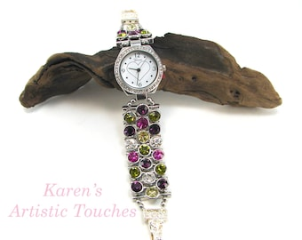 Crystal Bling Heart Beaded Watch, Silver Watch, Fashion Watch for Her, Unique Womens Watch
