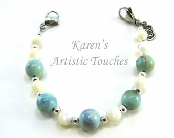 Natural Mother of Pearl and Gemstone Medical Alert Bracelet, Fashionable Medical ID Jewelry, Allergy Bracelet, Beach Theme Bracelet