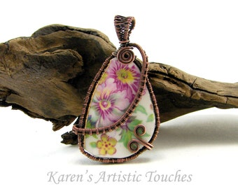 Broken China Pendant Wire Weaving Copper Wire, Statement Jewelry, Recycled Material, Handcrafted Necklace, Statement Piece
