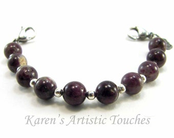 Natural Pink Tourmaline Gemstone Medical Alert Bracelet, Fashionable Medical ID Jewelry, Allergy Bracelet, Beaded Bracelet