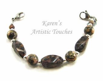 Natural Leopardskin Jasper Gemstone Medical Alert Bracelet, Fashionable Medical ID Jewelry, Allergy Bracelet, Beaded Bracelet