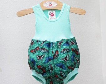 Aqua Baby Girl Bubble Romper, Summer Baby Girl Clothes 3 6 9 12 18 month Butterfly 1st Birthday Outfit, Unique Baby Clothes Berry Patch USA
