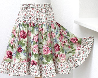 Full & Twirly! Floral Girls Skirt Green Ruffle Twirl Skirt 2t 3t 4t 5 6 7 8 Size 10 12 14 Tween Rose Girl Clothes Kids Gift Childs Clothing