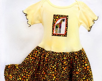 Giraffe Toddler Girl Clothes Appliqué Yellow Toddler Dress Little Girl Giraffe Dress Safari Birthday Outfit Girl Toddler Gift 12m-4T African