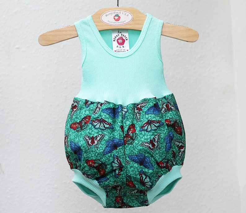 Aqua Butterfly Baby Bubble Romper Girl Baby Romper Unique Baby Clothes New Baby Girl Gift Baby Girl Clothes Hipster Baby Girl Outfit