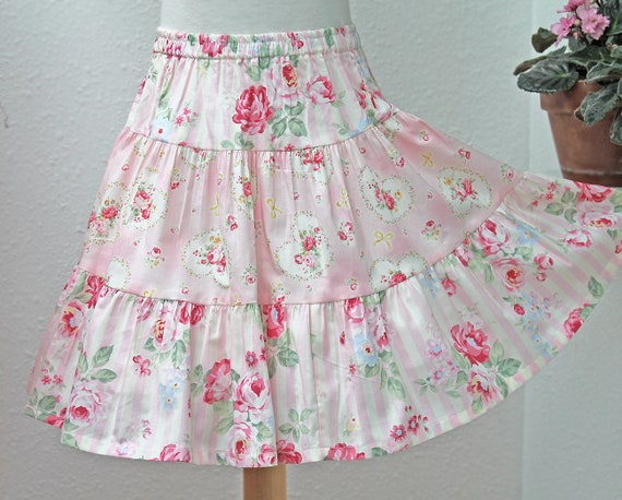 Pink Roses On Stripes 3 Tier Girls Skirt Floral Twirly Cotton Etsy