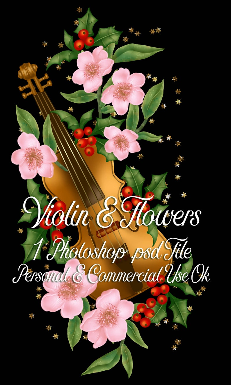 Violin & Flowers Layered Template image 0