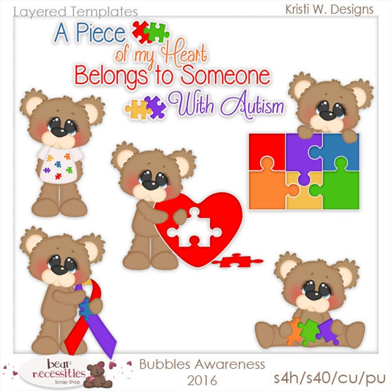Autism Awareness  Bubbles Teddy Bears  Layered Templates by image 0
