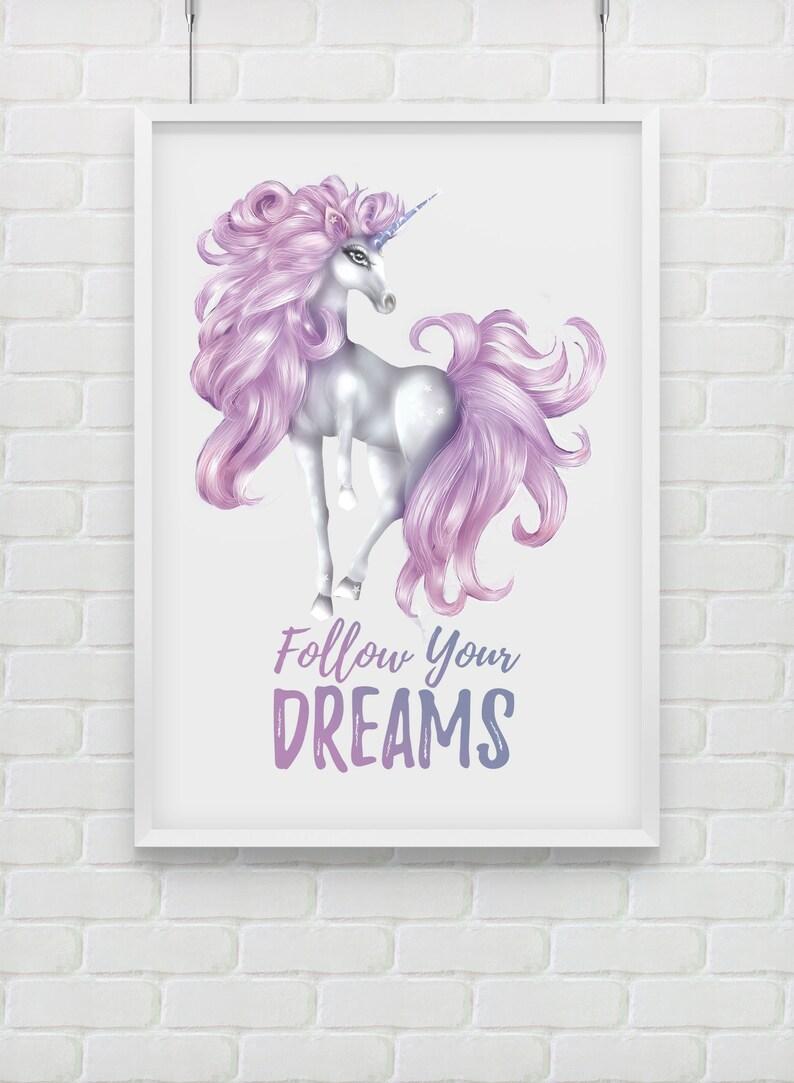 Follow Your Dreams  Purple & White Unicorn Printable Poster image 0